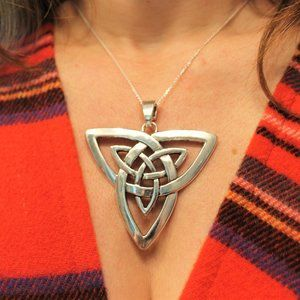 New Celtic Triquetra Pendant Necklace Large Silver